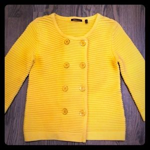 525 America yellow button spring sweater!
